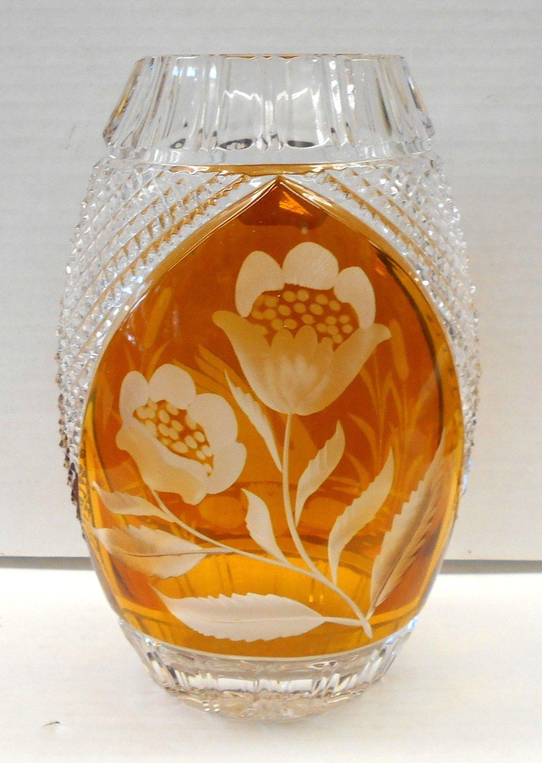 Vintage julia wheel cut lead crystal vase swan and floral made in vintage julia wheel cut lead crystal vase swan and floral made in poland ebay floridaeventfo Choice Image