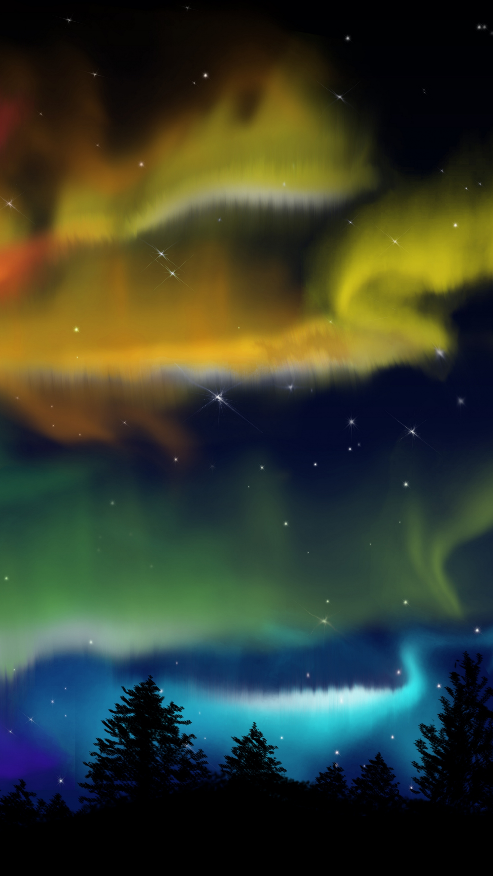 2160x3840 Northern Lights, forest, colorful, silhouette