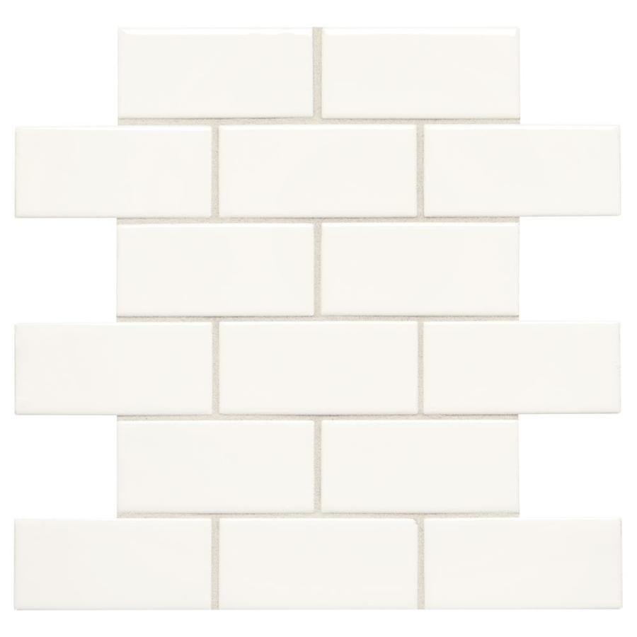 Starting Line White Gloss Brick Mosaic Ceramic Wall Tile