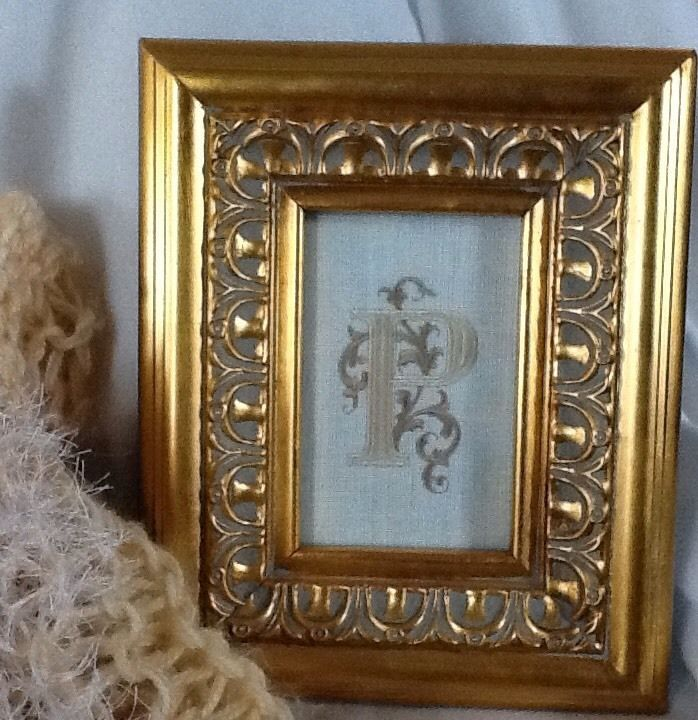 GOLD PICTURE FRAME WITH EMBROIDED P Gold picture frames