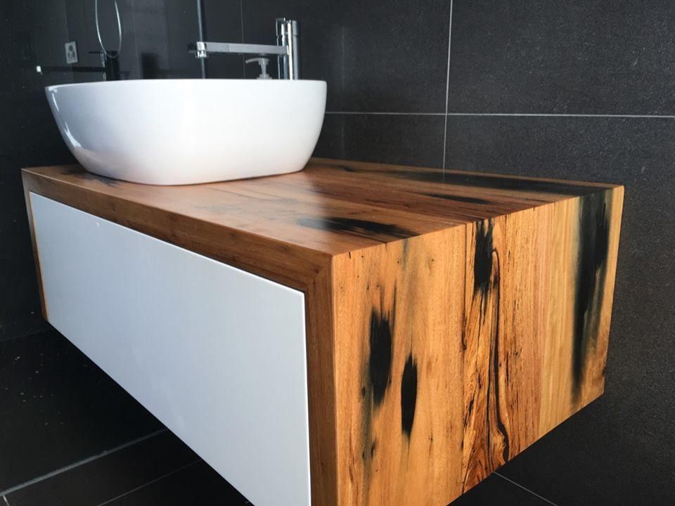 Recycled Railway Sleeper Timber Wall Hung Bathroom Vanity Timber Vanity