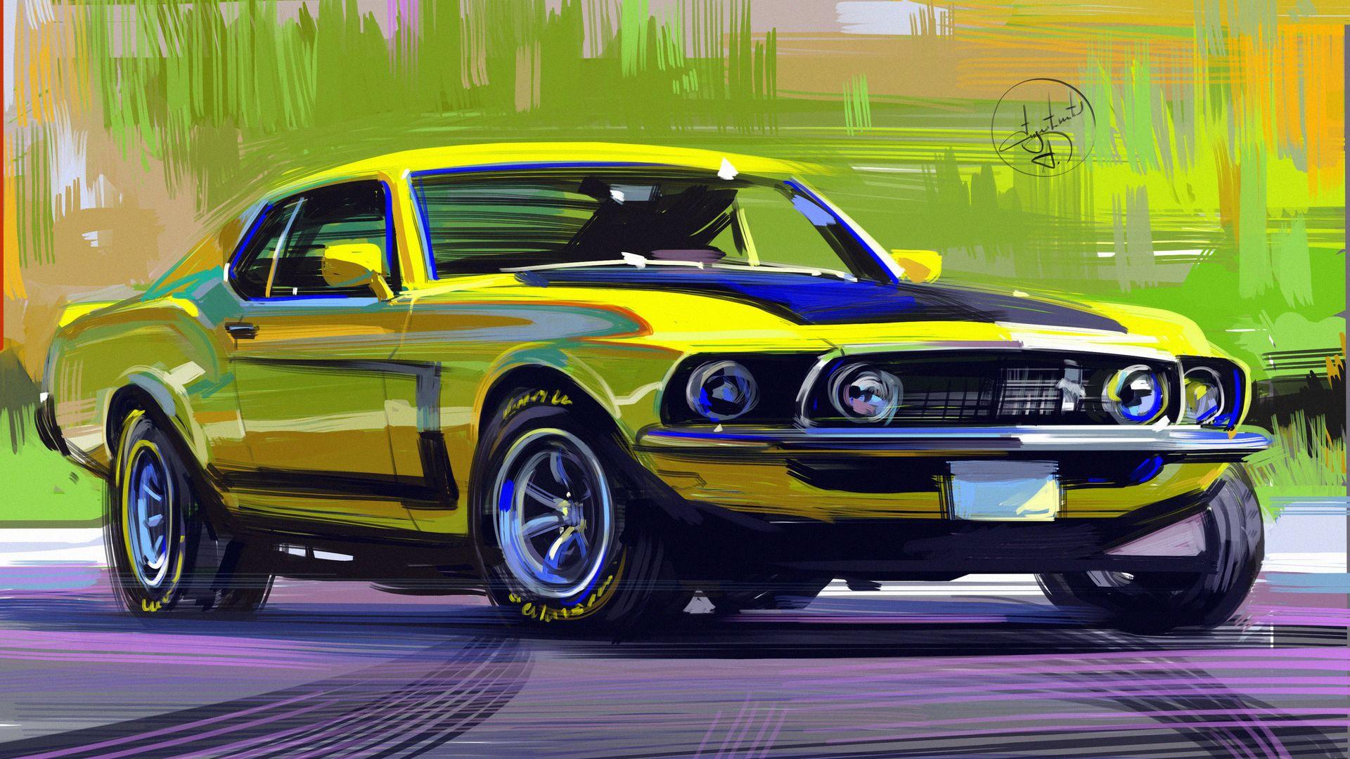Artwork Vehicle Aleksandr Sidelnikov Digital Art Mustang Car Yellow Cars Ford Mustang 1920x1080 Automotive Illustration Art Cars 1920x1080 Wallpaper