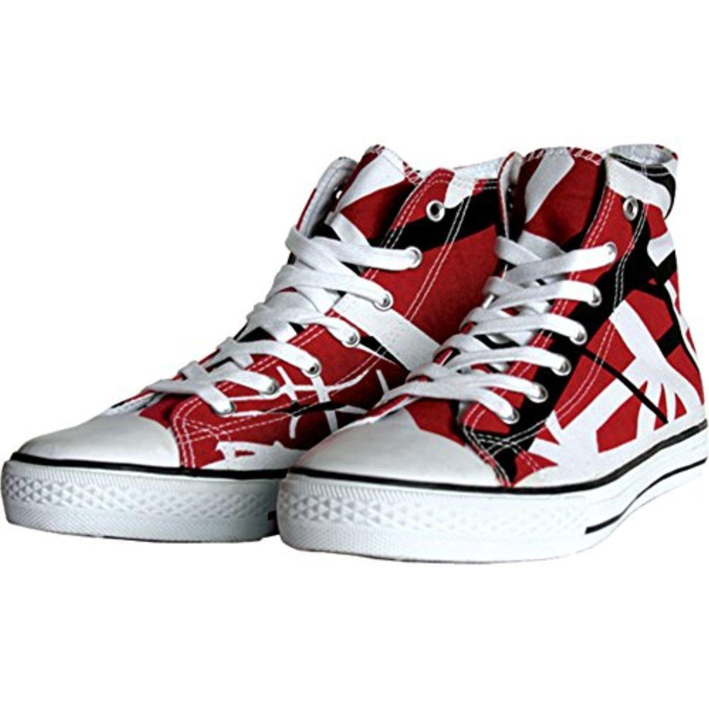 Evh Men S 7 13 Us Sizes Eddie Van Halen Evh Red Black And White Striped 1200 High Top Unisex Sneakers 13 M Us Sneakers Shoes Canvas Shoes