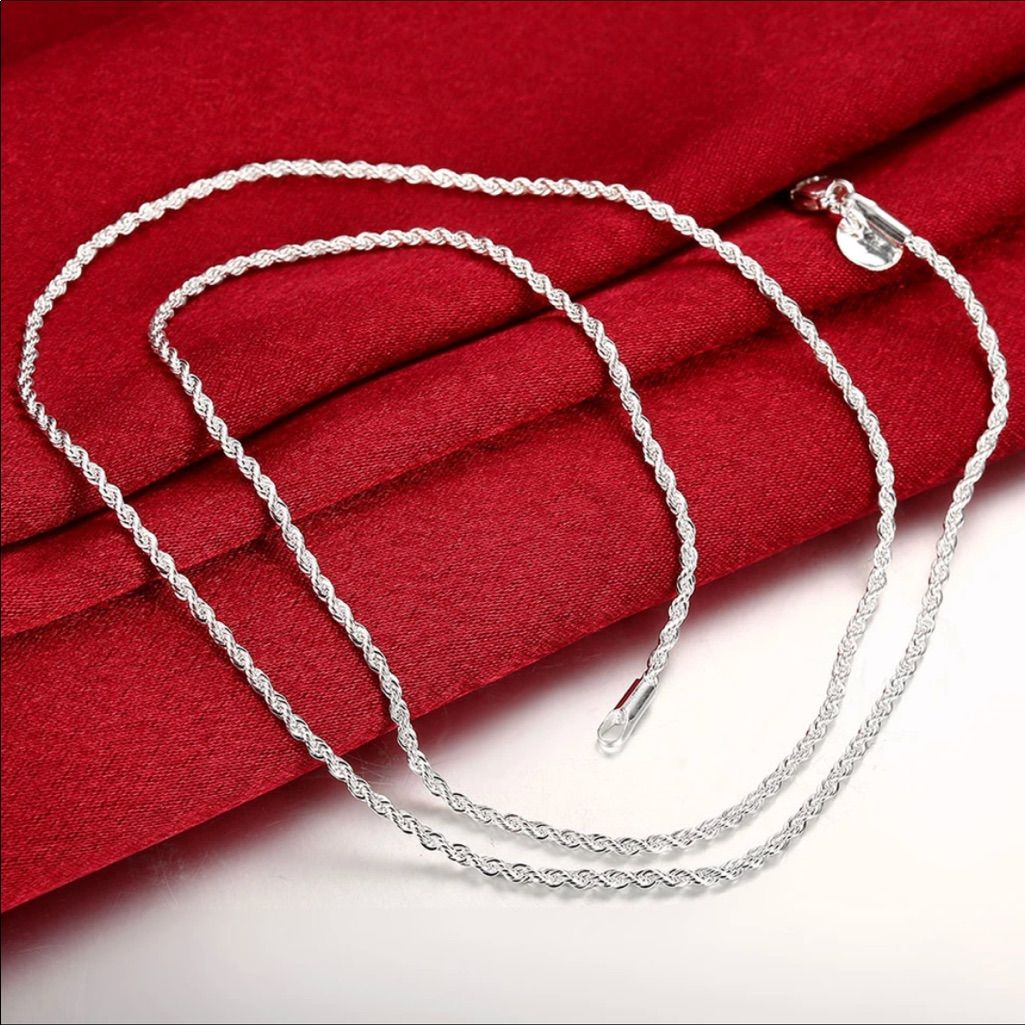 Anchor Chain Round 925 Sterling Silver Chain Solid Necklace Collier Womens Mens