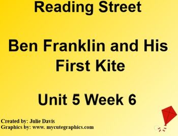 This is a SmartBoard activity to accompany Scott Foresman's Reading Street Unit 5 Ben Franklin and His First Kite. This is a 5 day lesson with multiple activities for each day that include high frequency words different & carry, long vowels i, o, prefixes re- un-, journal activities, games, videos and much more. This lesson also includes learning how you can use something familiar in a new way, Ben Franklin, wind, and inventions. There is also lessons on theme and pronouns. This follows the…