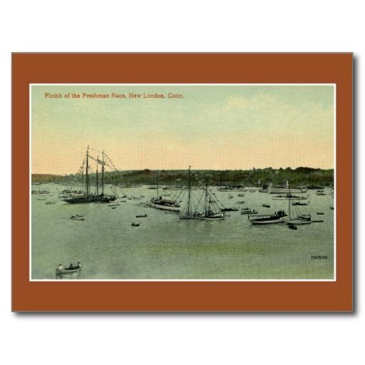 1900s vintage rowing Finish Frenchman race New London CT postcards