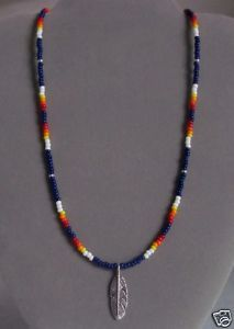 Navy Blue Feather Beaded Mens Necklace Native American
