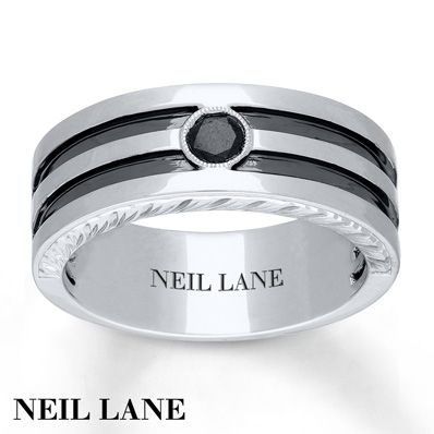 Neil Lane Mens Ring 15 carat Black Diamond 14K White Gold Jared