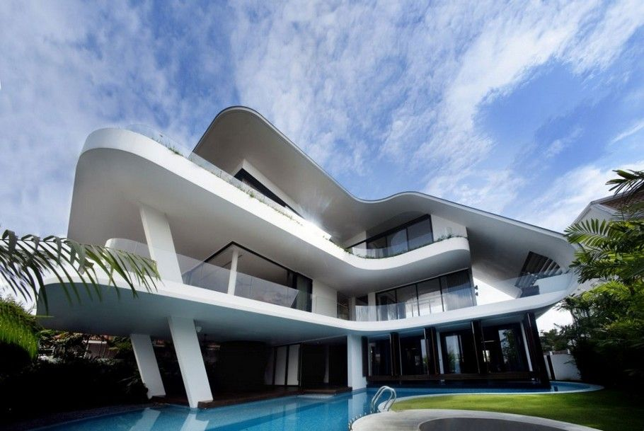 Aamer architects have designed a beautiful and unusual house called ninety 7 siglap located on the siglap hill in singapore hence the name