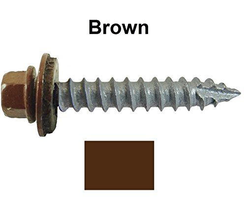 14 Metal Roofing Screws 250 Screws X 1 1 2 Quot Brown Hex Washer Head Sheet Metal Roof Screw Self Starting Tapping Epdm Washer Colored Head For Corrugate