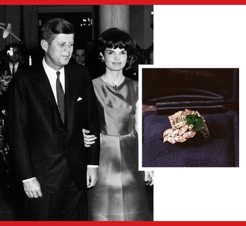 Jacqueline Bouvier Kennedy    And Emerald And Diamond Ring That Jackie Had  Redesigned After The