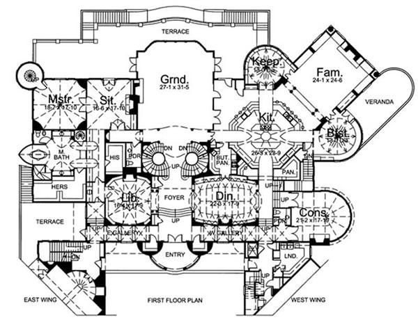 House. MAIN FLOOR PLAN 106 1178   Downton Abbey American Style Designs