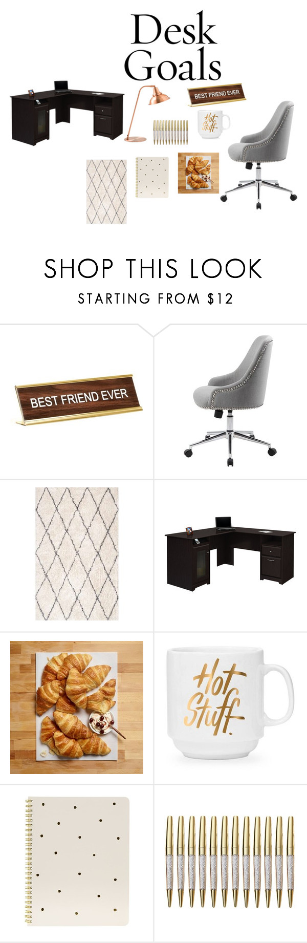 """""""My Personal Desk"""" by shekb ❤ liked on Polyvore featuring interior, interiors, interior design, home, home decor, interior decorating, He Said, She Said, Bush Furniture and Sugar Paper"""