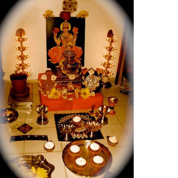 Puja room design home mandir lamps doors vastu idols for Room decoration ideas in diwali