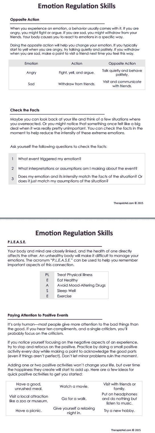 DBT Emotion Regulation Skills (Worksheet   Pinterest