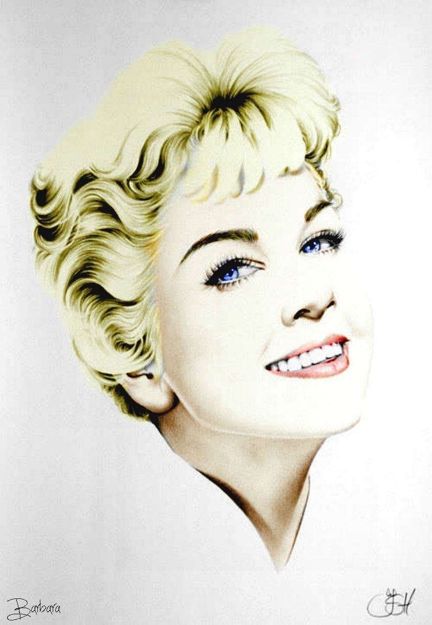 Doris day this was a black and white drawing by the person on the bottom right i added a touch of color