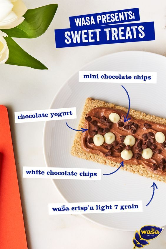 Save this recipe for a chocolatey treat made with Wasa Crisp'n Light 7 Grains, that's better than your chocolate chip cookie. Indulge your sweet tooth and feel good about your guilt-free snack choice!