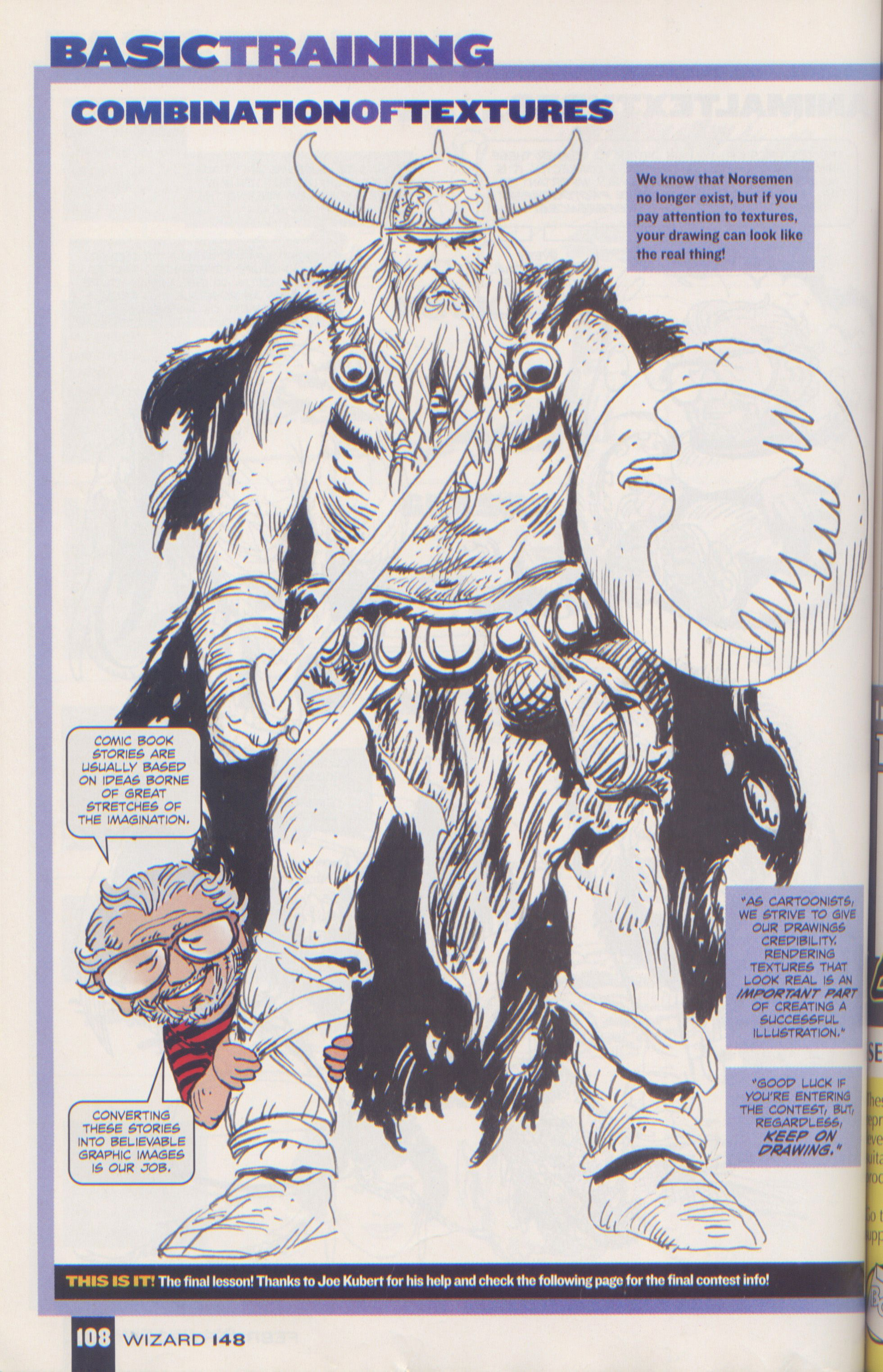 Scan from Wizard Magazine 148. Basic Training: Part 6 of 6 Joe Kubert shows how to do textures. p108