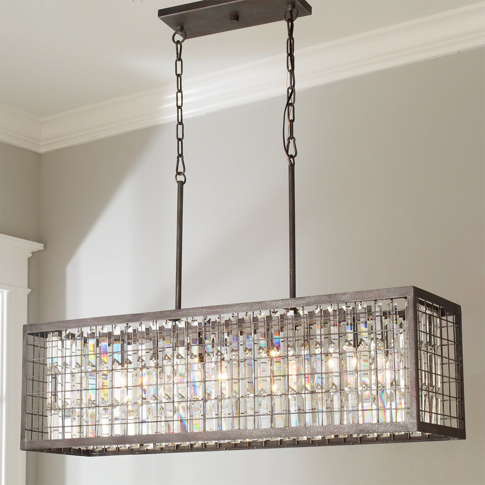 Crystal And Metal Cage Island Chandelier Rectangular Chandelier Metal Chandelier Farmhouse Glass