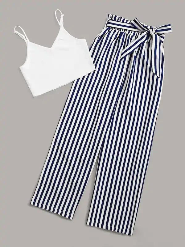 Ribbed Solid Cami Top With Striped Belted Paperbag Pants