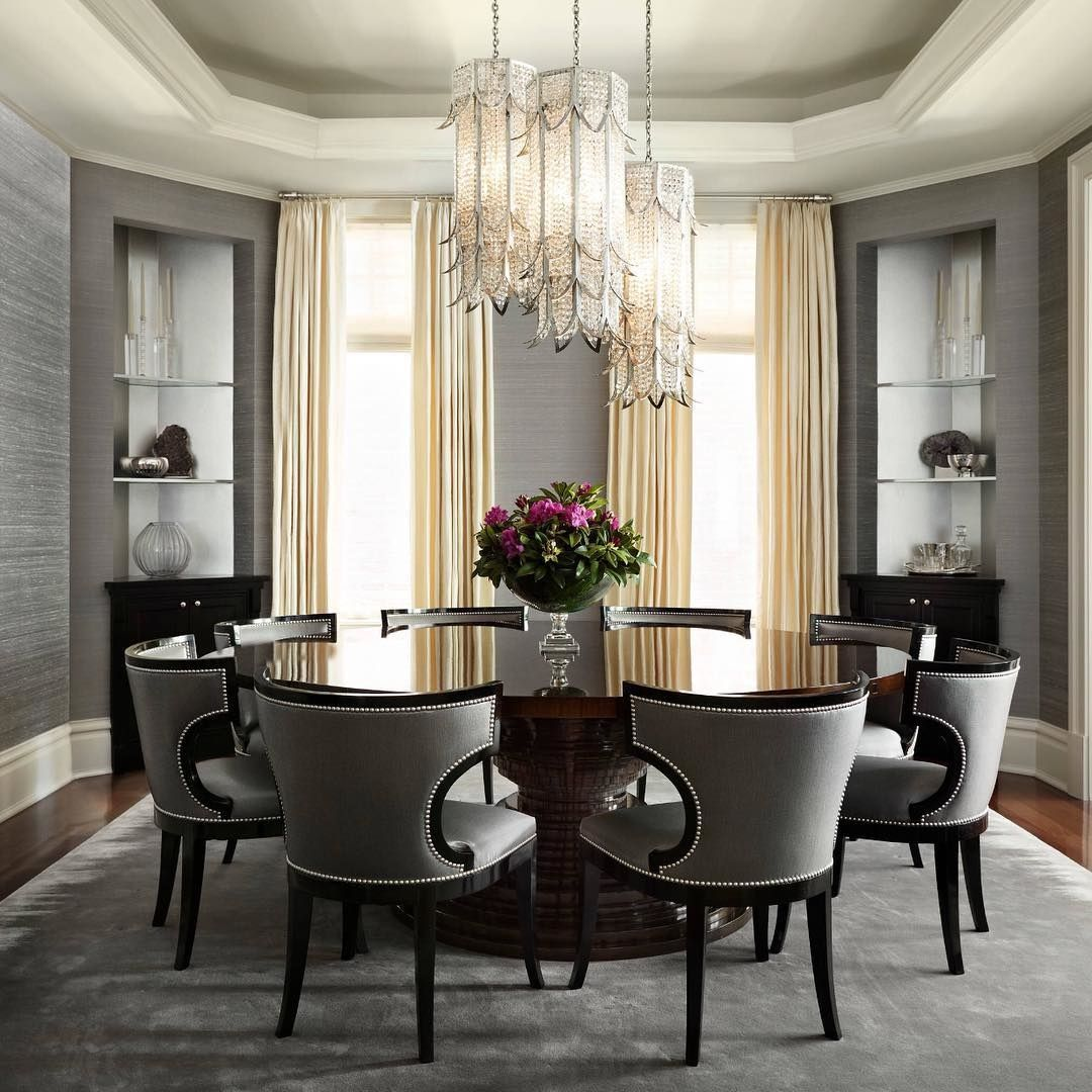 Round Dinning Room Table: Gray Wallpaper, Dark Hardwoods, Round Table, And Striking
