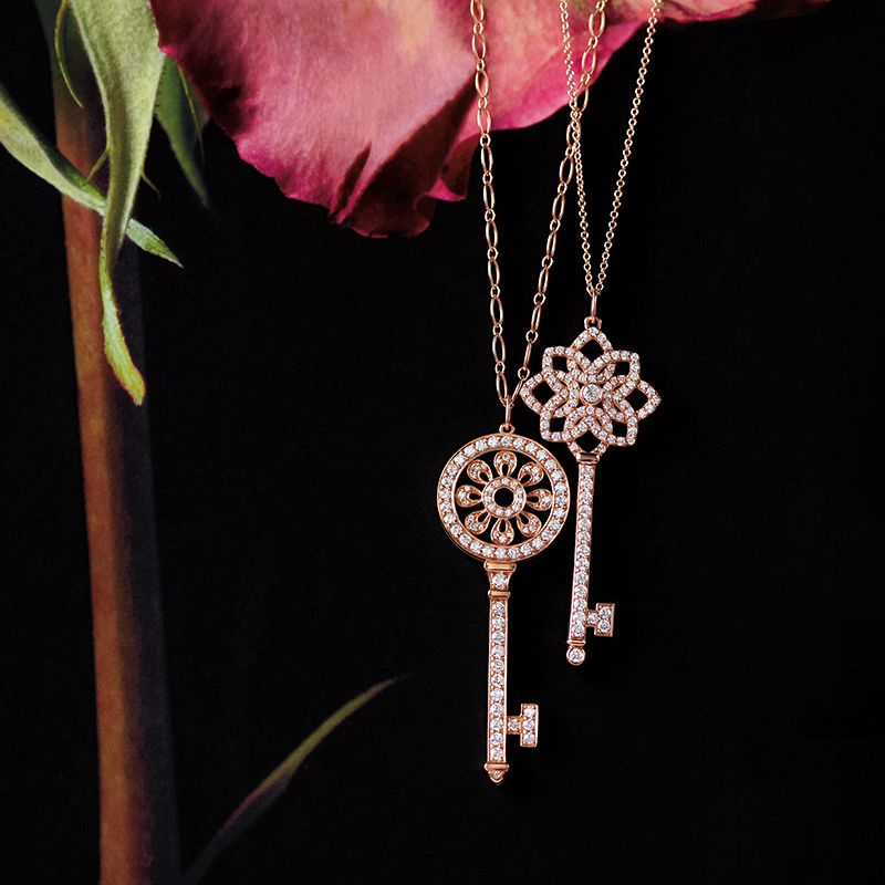 6d6f85aa8 Unlock the possibilities with the Tiffany Keys woven key pendant and petal key  pendant in 18k rose gold with diamonds.