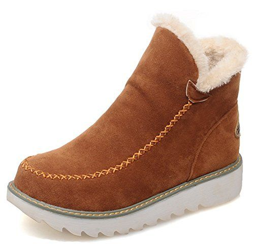 69e89ff09cd4 The perfect Aisun Women s Warm Non Slip Faux Fur Lined Round Toe Winter  Booties Pull On