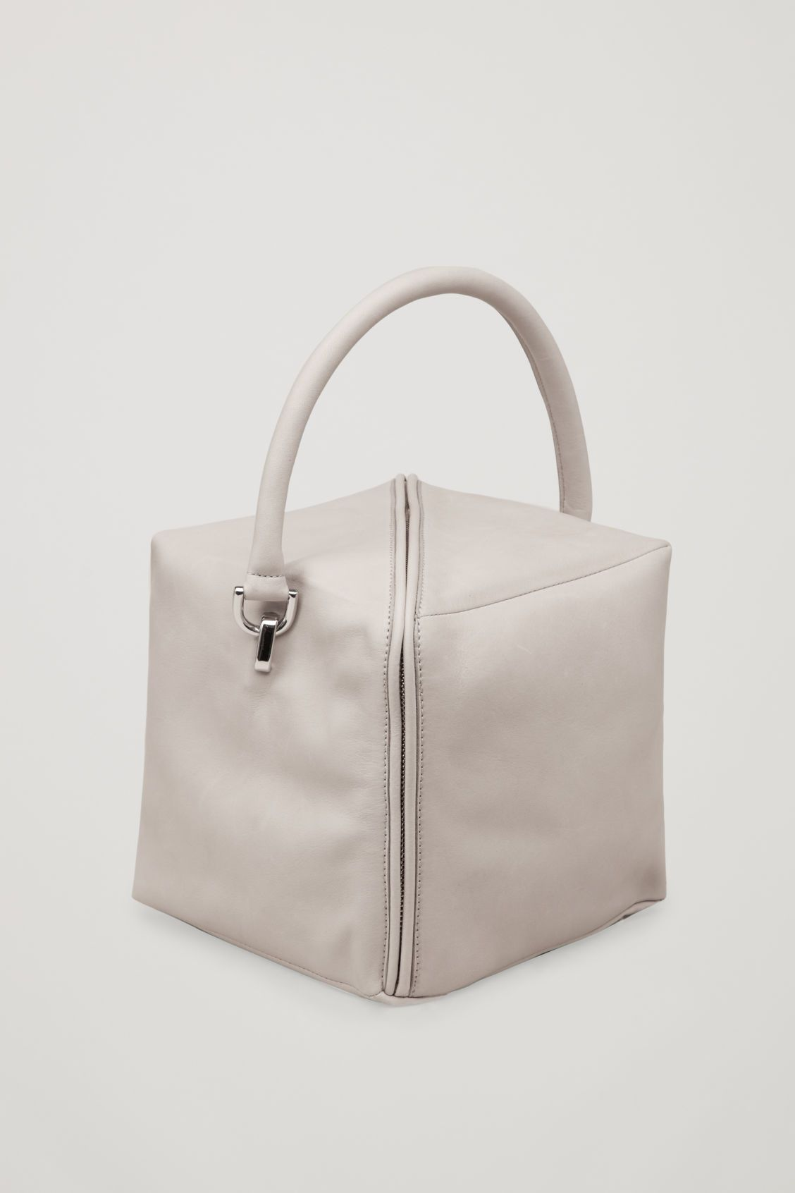 6797bbf0c0 Side image of Cos square leather cross-body bag in grey