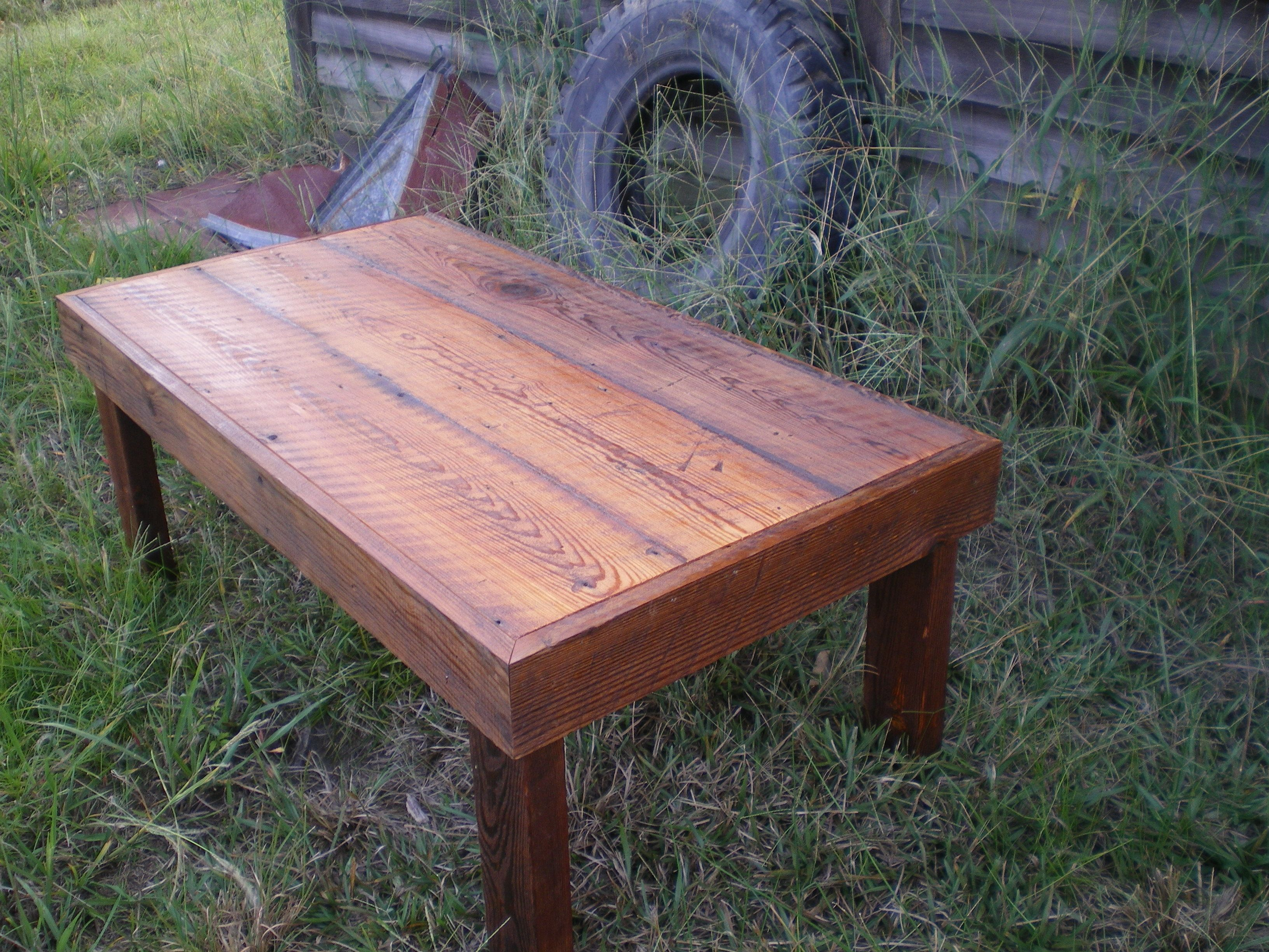 This Reclaimed Barn Wood Coffee Table Features Mitered