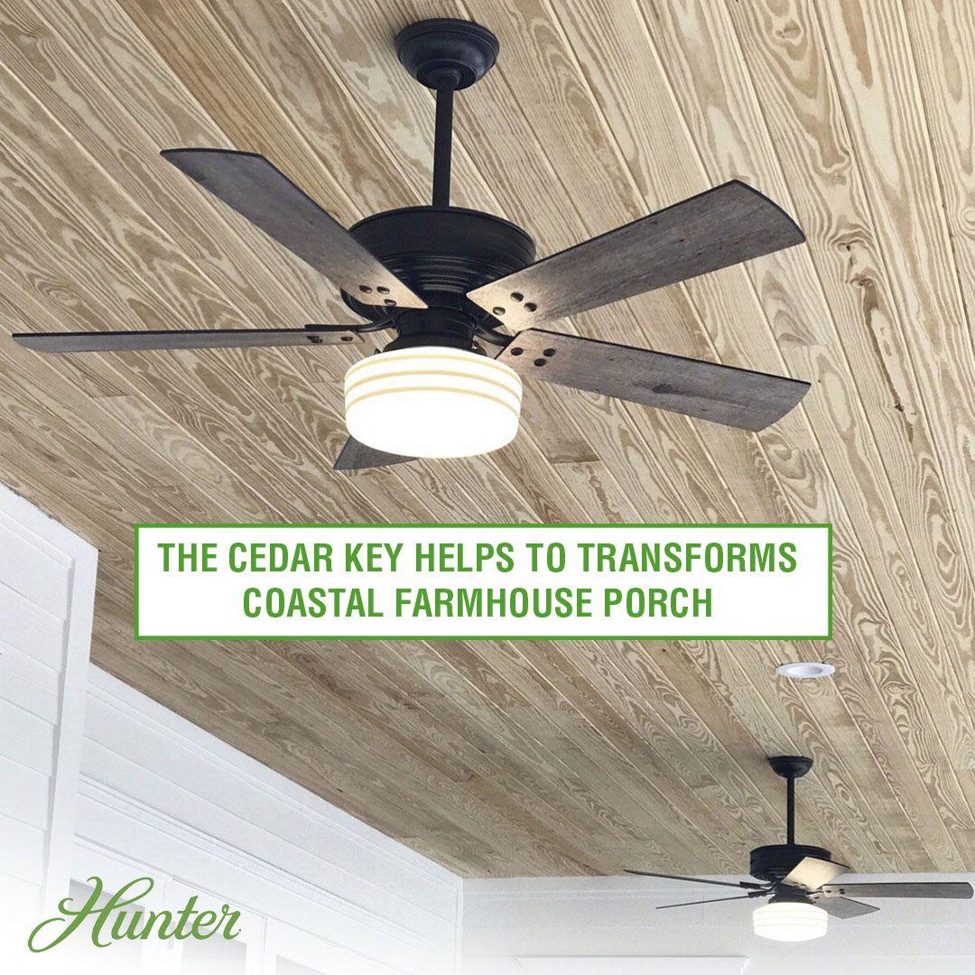 Cedar Key Adds Powerful Air To A Coastal Farmhouse Porch Coastal Farmhouse Farmhouse Porch Farmhouse Ceiling Fan