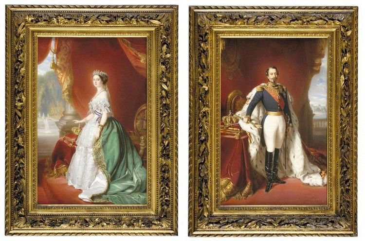 f - A MAGNIFICENT PAIR OF FRAMED SÈVRES PORTRAIT PLAQUES OF