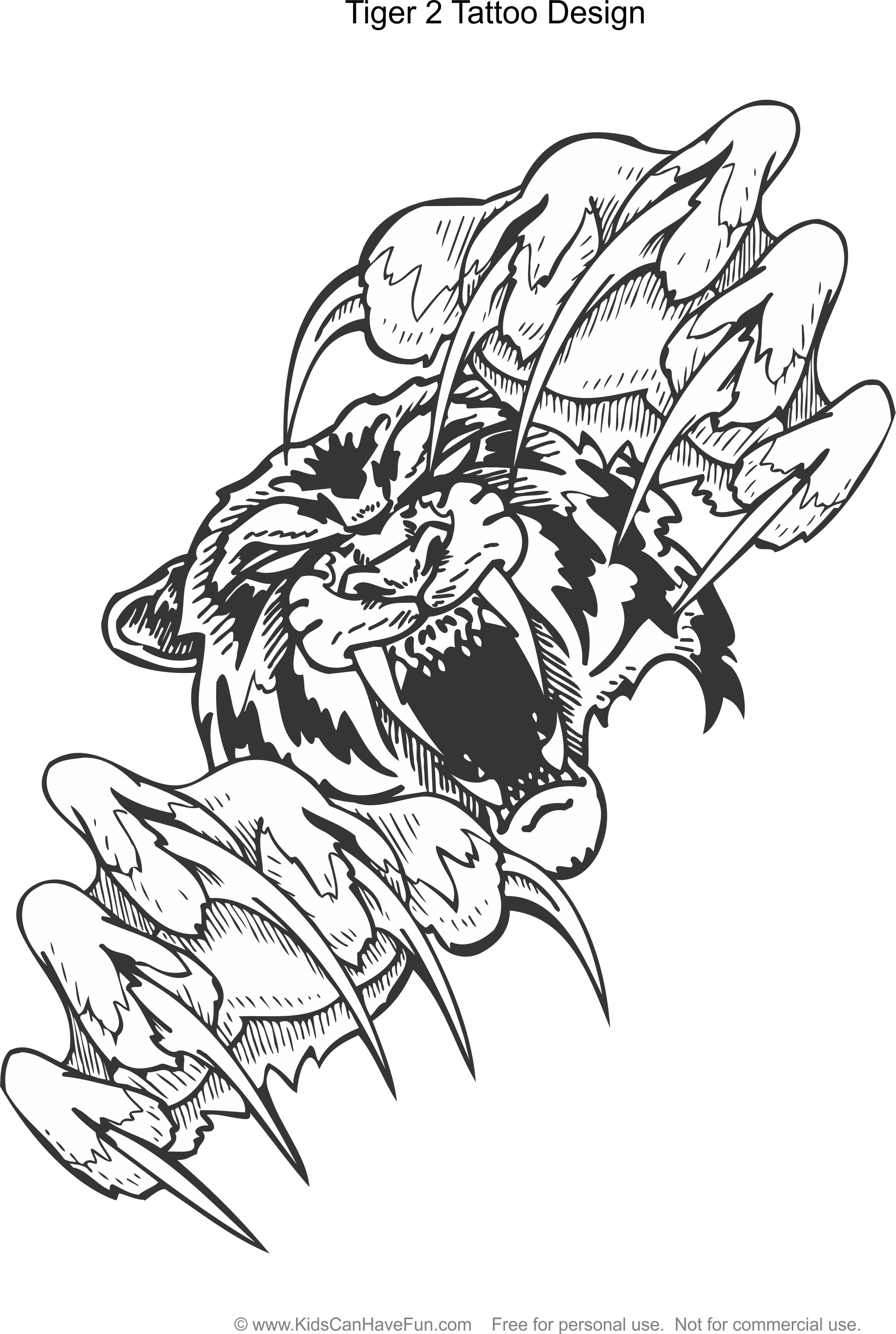Tiger 2 Tattoo Design Coloring Page Http Www Kidscanhavefun Com Tattoo Coloring Htm Tiger Tattoo Color Tattoo Coloring Book Coloring Pages Color Tattoo