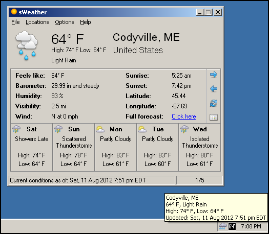 sWeather 1.7.3 Free, traybased weather app with multiple
