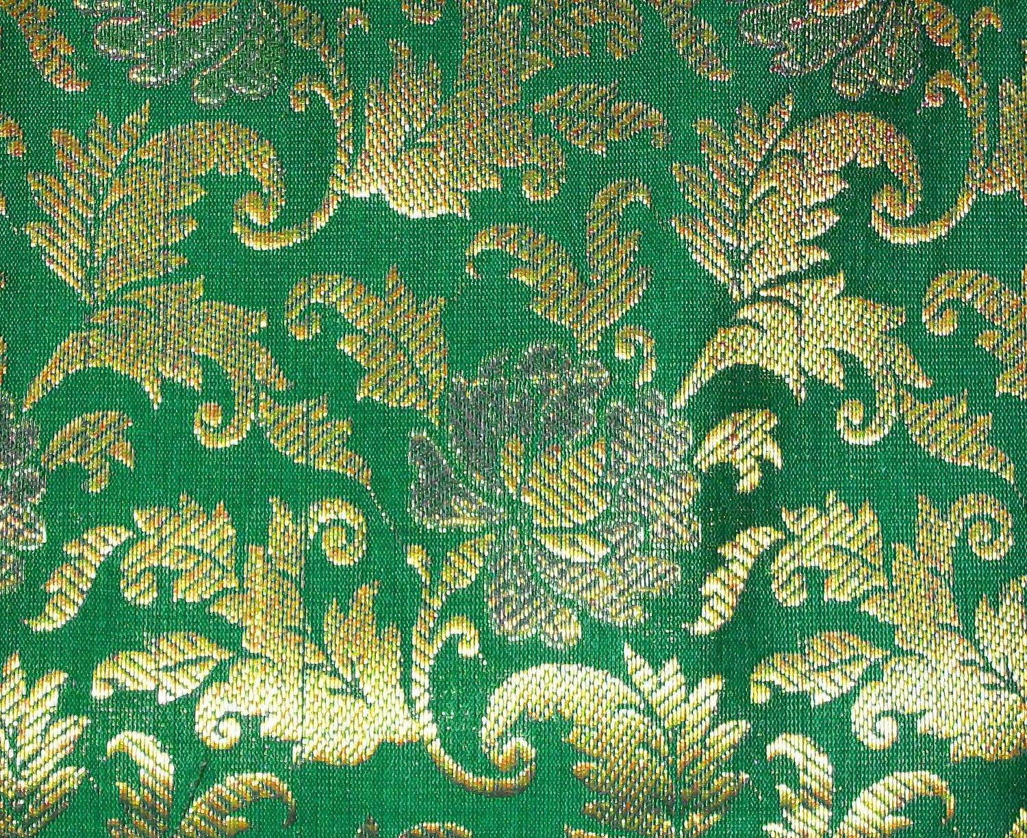 One yard of Indian silk brocade fabric in teal green and gold ...