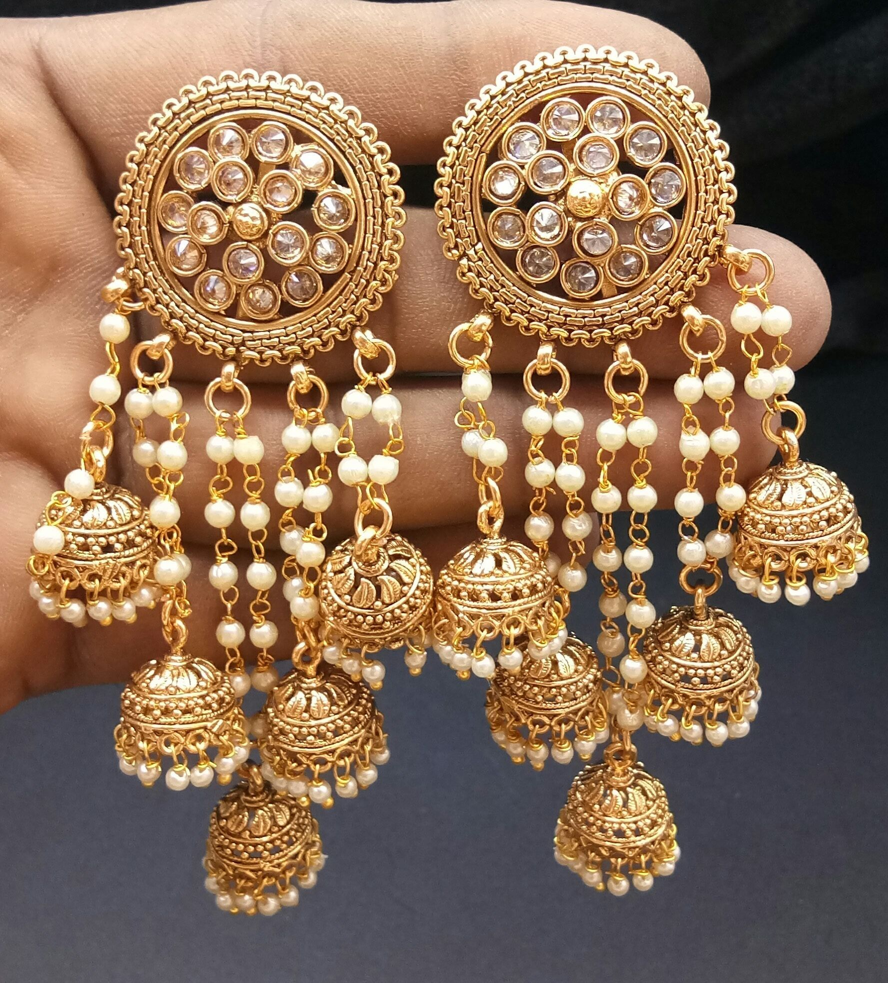 63e375282 Buy Traditional Jhumka With Pearl Earring Wedding Wear Earring online. ✯  100% authentic products, ✯ Hand curated, ✯ Timely delivery, ✯ Craftsvilla  ...