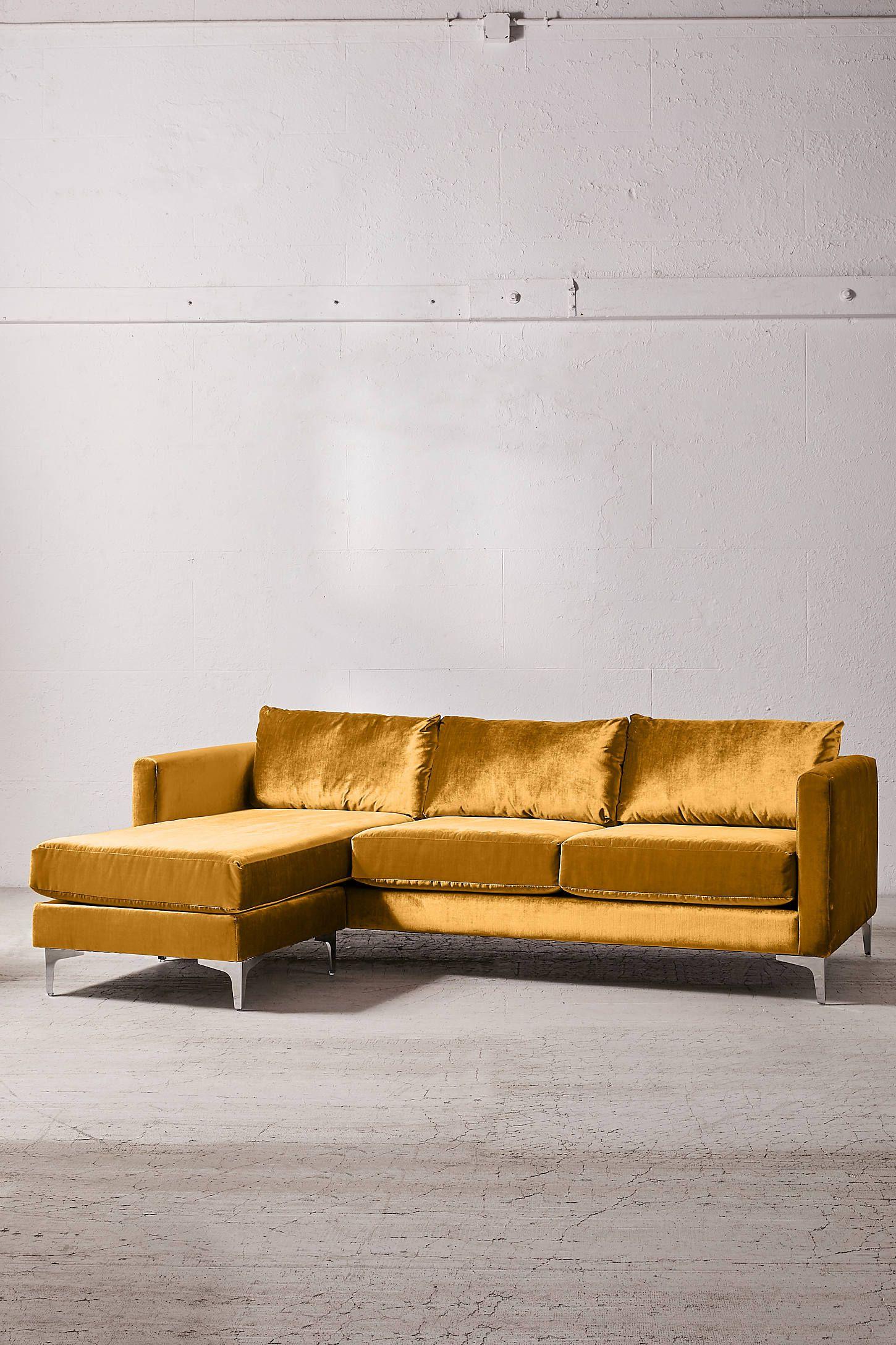 Chamberlin Velvet Sectional Sofa Velvet Sectional Yellow Sofa