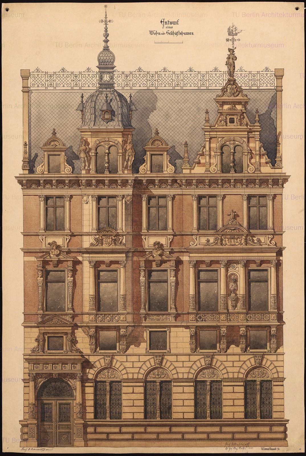 Wohn Und Geschaftshaus Edificios Antiguos Dibujo De Arquitectura Fachadas Edificios