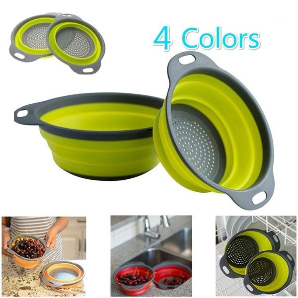 4 Colors Kitchen Saving Space Collapsible Silicone Colander Fruit