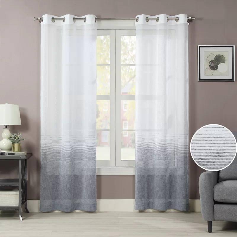 Rosecliff Heights Blythdale Solid Color Semi Sheer Grommet Curtain