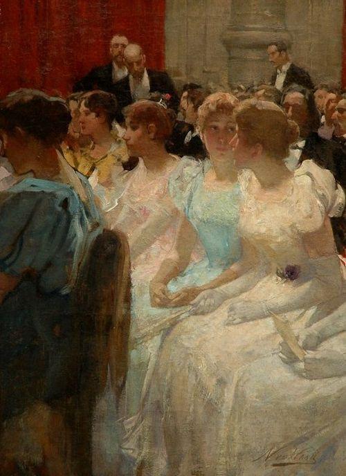 Nicolaas van der Waaij (Dutch, 1855-1936) In de pauze, Concertgebouw in Amsterdam. http://www.simonis-buunk.nl/sitemap/sitemap_nl.htm