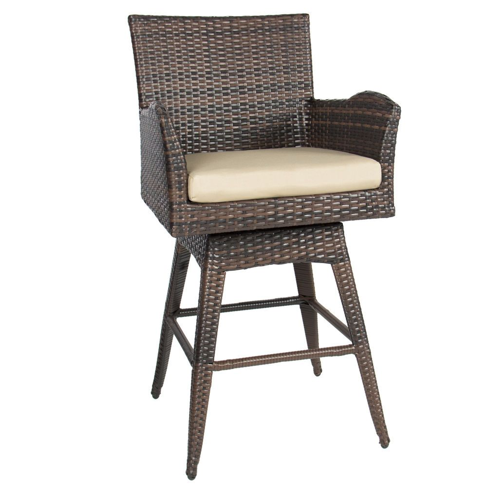 Bcp Outdoor Patio All Weather Brown Pe Wicker Swivel Bar Stool W Cushion Outdoor Bar Stools Wicker Bar Stools Patio Bar Stools