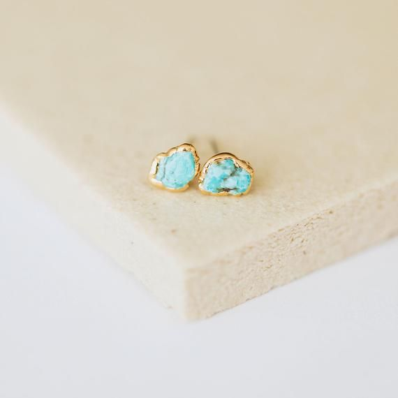 Photo of tiny turquoise studs, raw turquoise stone, minimalist jewelry, birthstone earrings, december birthda