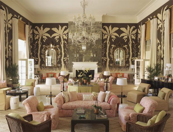 The living room at Lyford Cay Club decorated by Tom Scheerer: WASP style with a delish twist