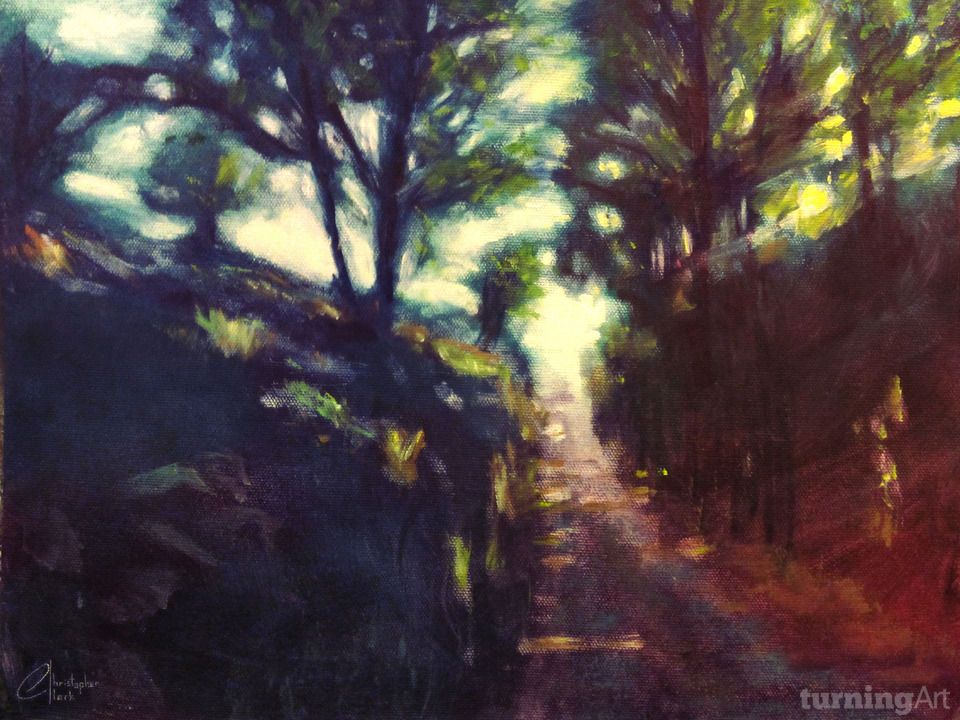 Tree-Shaded Path, Florence, Italy by Los Angeles artist Christopher Clark.