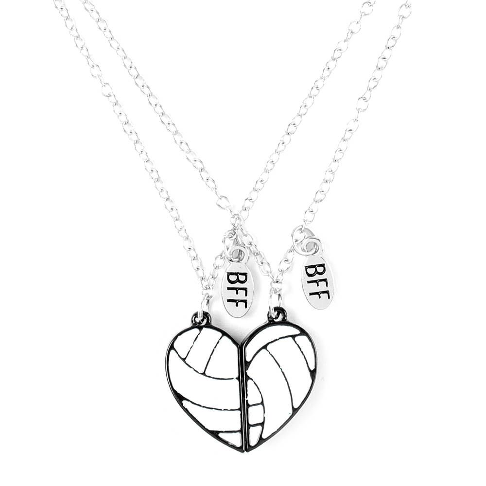 Best Friends Half Hearts Volleyball Pendant Necklaces