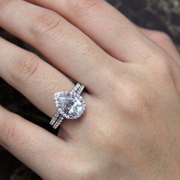 rd aw pav hal set wedding ring collections engagement dream ct wst simulant gem round cut bridal halo rings diamond