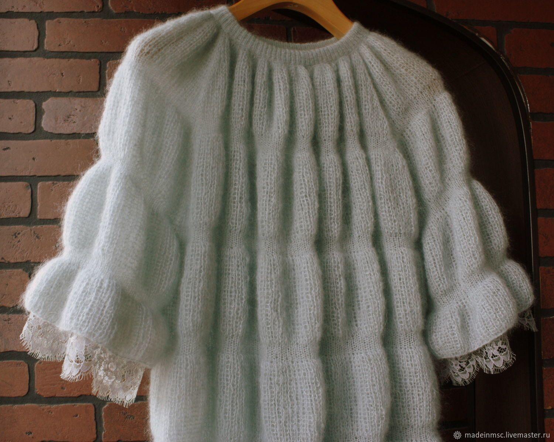 fb8b133b521 Кофты и свитера ручной работы. КОФТОЧКА-ТУНИКА кружево Шантильи мохер шелк.  Вязание + шитье. Ярмарка Мастеров. Мохер