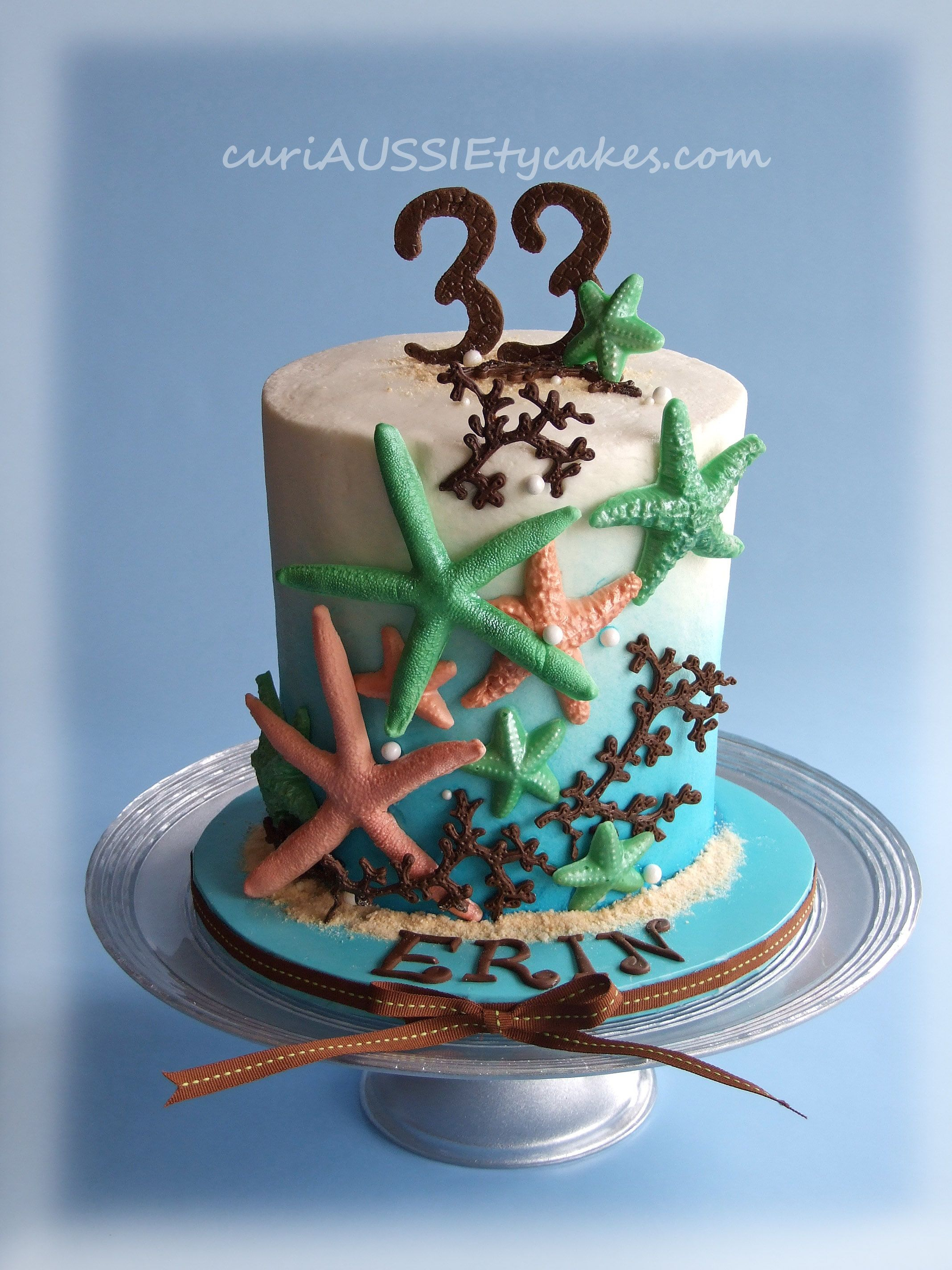 Stupendous Starfish Birthday Cake This Cake Is A 6 Round And About 7 1 2 Personalised Birthday Cards Akebfashionlily Jamesorg