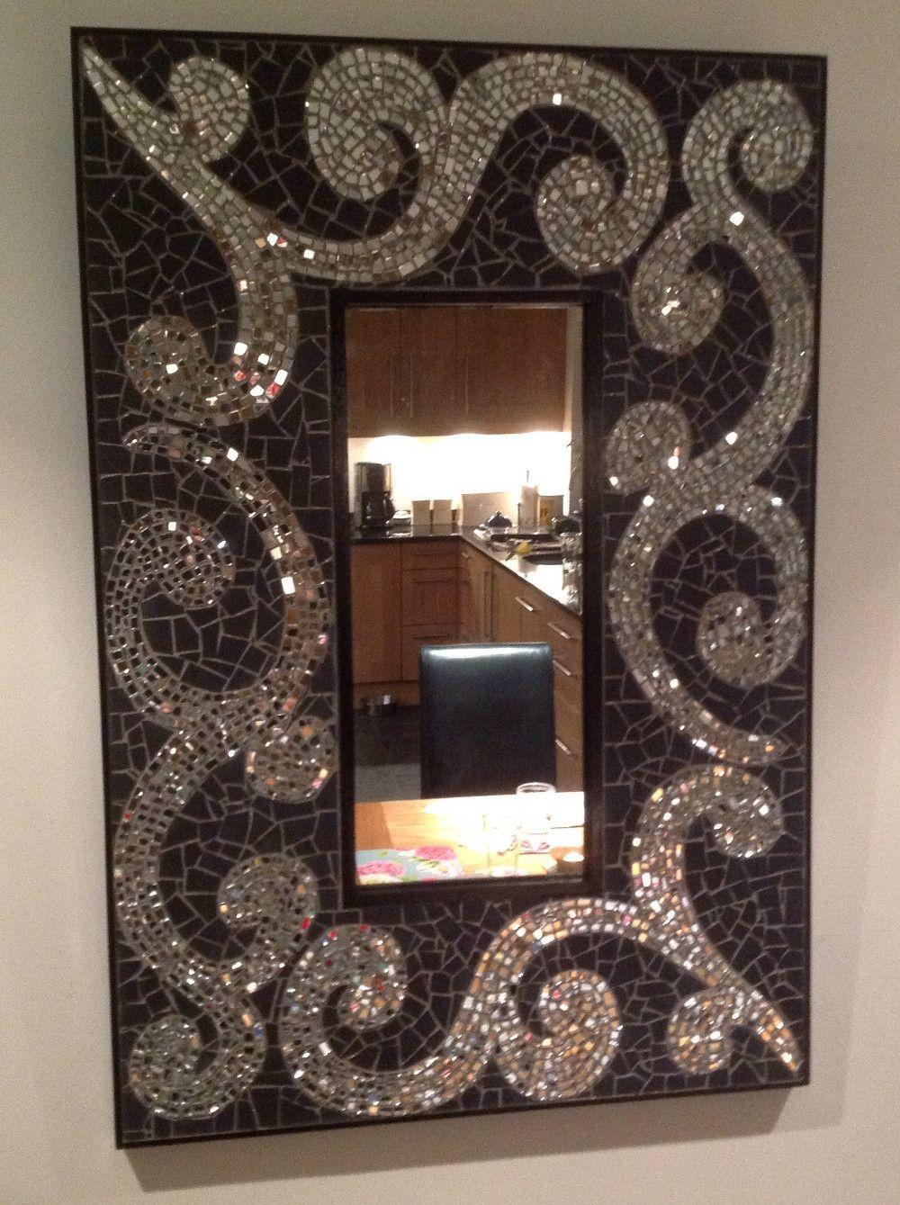Original Mosaic Bathroom Mirror Art Matt Black Mirror Glass Tiles