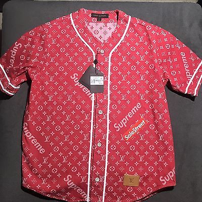 1570d2f9d24 Supreme x Louis Vuitton LV All Over Monogram Denim Baseball Jersey Red Sz  Large